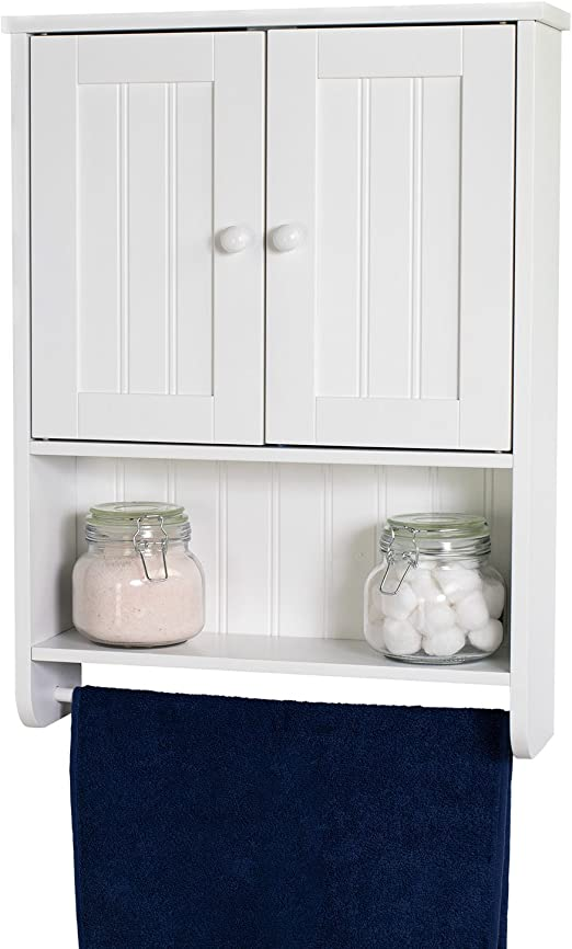 Amazon Com White Wall Mount Cabinet Bathroom Storage With Towel Bar Home Kitchen