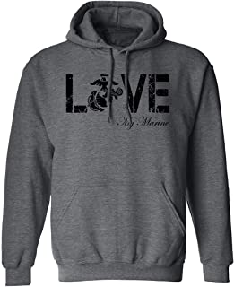 Love My Marine Hooded Sweatshirt in Dark Heather