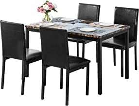 MOOSENG, 5 Pieces Dining Table Set, Elegant Faux Marble Desk and 4 Upholstered PU Leather Chairs, Perfect for Kitchen, Breakfast Nook, Bar, Living Room Occasions, Black