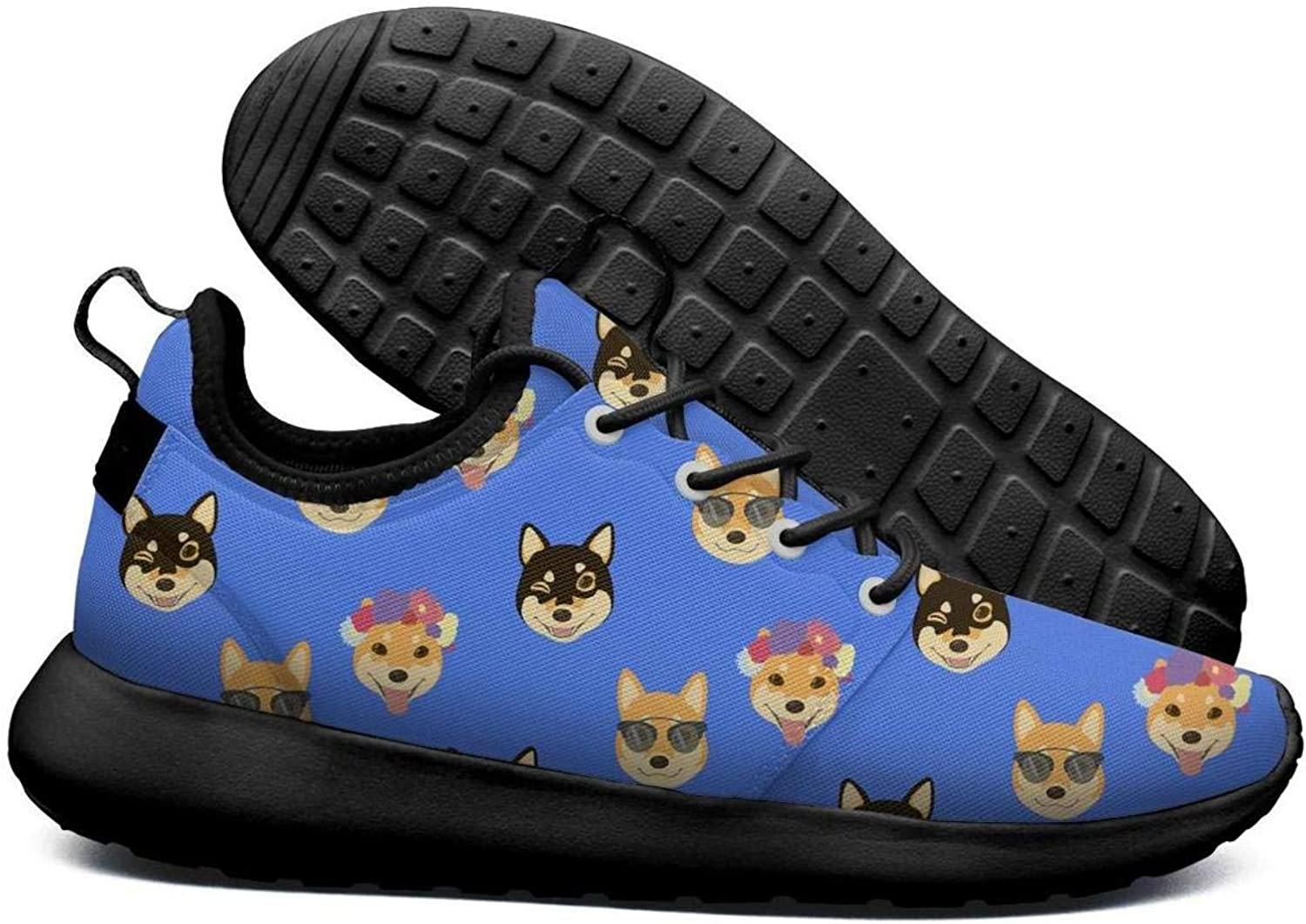 SKULLP Shiba Inu Coffee Dog Pet Black Canvas Sneakers Men Cool Breathable Trail Running shoes