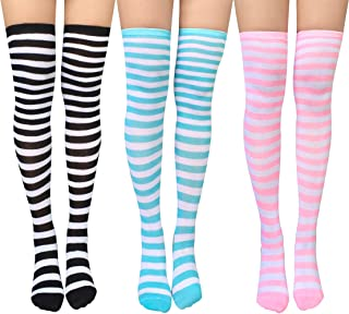 3/4 Pairs Womens Thigh High Socks Cotton Striped Long Over the Knee High Socks for Women