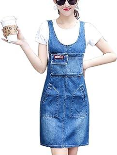 SANKU レディース デニム ドレス ゆったり ロング丈 デニムワンピース ジャンパースカート オーバーオール サロペット 可愛い ジーンズ カジュアル オールインワン おしゃれ サスペンダー
