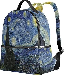 School Backpack for Girls Boys Van Gogh Starry Night Moon Bookbag for 2th 3th 4th Grade Students