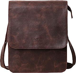 Leathario Men's Leather Shoulder Bag Messenger Bag Crossbody Bag 11 inch Ipad Bag Satchel Bag Brown (brown-604)