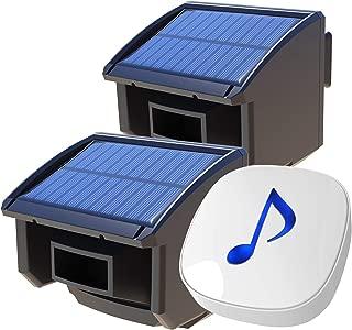 Htzsafe Solar Wireless Driveway Alarm System-1/4 Mile Long Transmission Range-Solar Powered No Need Replace Batteries-Outdoor Weatherproof Motion Sensor DIY Security Alert-1 Receiver and 2 Sensors KIT