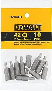 DEWALT DW2202B10 #2 Square Recess 1-Inch Bit Tip (10-Pack)