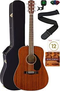 Fender CD-60S Solid Top Dreadnought Acoustic Guitar - All Mahogany Bundle with Hard Case, Tuner, Strap, Strings, Picks, Au...