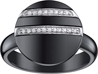 ceranity 女式戒指925标准纯银1,88g 陶瓷黑色 / 白色方晶锆石 / N–1–120065