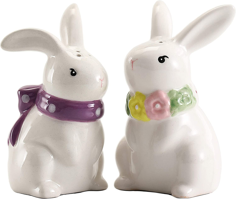Bico Cute Rabbit Salt Max 86% OFF Pepper Set Handpainted Direct stock discount Dishwash Shaker