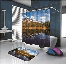 AMDXD Bathroom Set Curtain Mats Accessories Mountain and Lake Blue 100% Polyester Shower Curtain Bathroom Floor Mats 150x2...