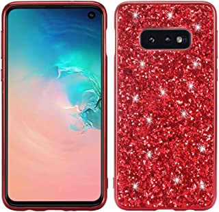 QFH Glitter Powder Shockproof TPU Protective Case for Galaxy S10e (Black) new style phone case (Color : Red)