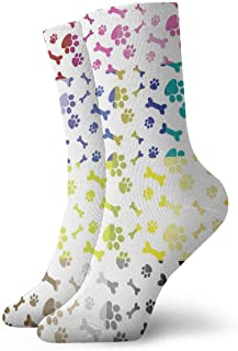 tyui7, Huellas de perro de múltiples colores Calcetines de compresión antideslizantes Calcetines deportivos acogedores de 30 cm para hombres, mujeres, niños