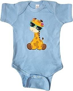 Giraffe with Blue Sunglasses, Cute Giraffe Infant Creeper