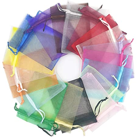 For Wedding Favors Drawstring Jewelry Pouch- Choose Your Color Combo 3 x 4 Inch Sheer Fabric Favor Bags 450 Organza Bags