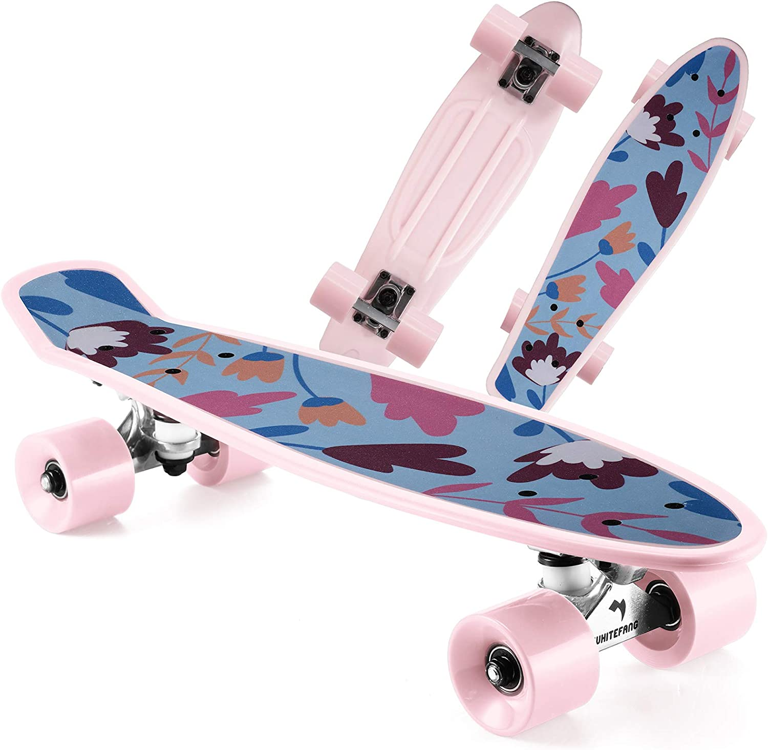 shipfree WhiteFang Skateboards Popularity 22 inches Kids Skateboard Colorful PU with