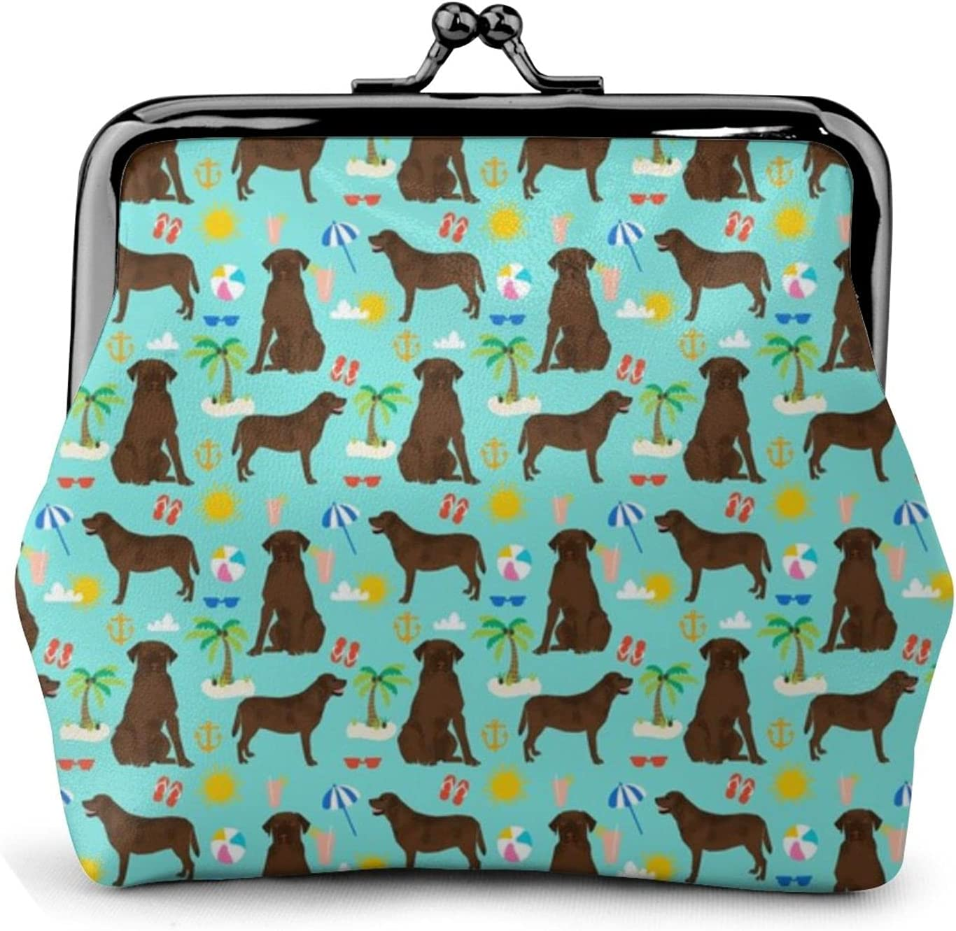 Chocolate Labrador Retriever, 1563 Leather Coin Purse Kiss Lock Change Pouch Vintage Clasp Closure Buckle Wallet Small Women Gift