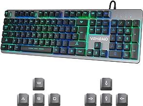 Gaming Keyboard Vehemo USB Wired RGB Keyboard Backlit Keyboard 7 Colors Breathing LED Keyboard Computer Keyboard All-Metal Panel 104 Key Keyboard for PC Laptop MAC