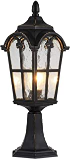 Traditional Outdoor Post Lights Black Finish Modern Pillar Lamp Square Waterproof Column Light Fixtures Landscape Pathway ...
