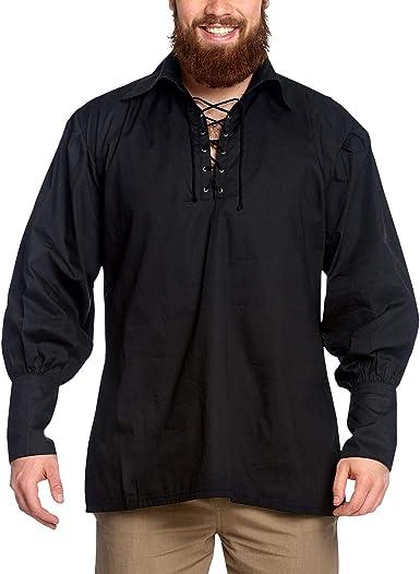 Camisa pirata con cuello ancho, estilo gótico/medieval, negro 895