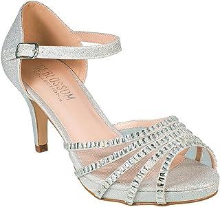 4f40fe4d1db Blossom Roma-22 Sparkle Mesh Rhinestone Mid Heel Prom Party Dress Sandal  Shoes