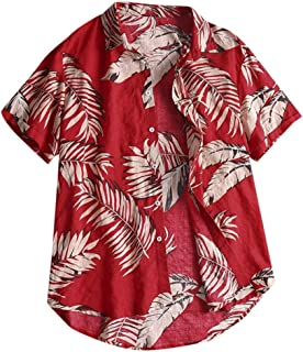 Men Short Sleeve Blouse Tops, Male Casual Button Print Hawaii Prin Fashion Casual T-shirt Blouse Shirt Tops