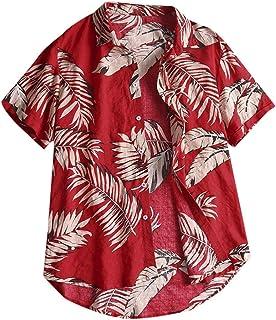 Men's Beach Short Sleeve Shirt Hawaiian Blouse Casual Tee Floral Printed Button Down Tops