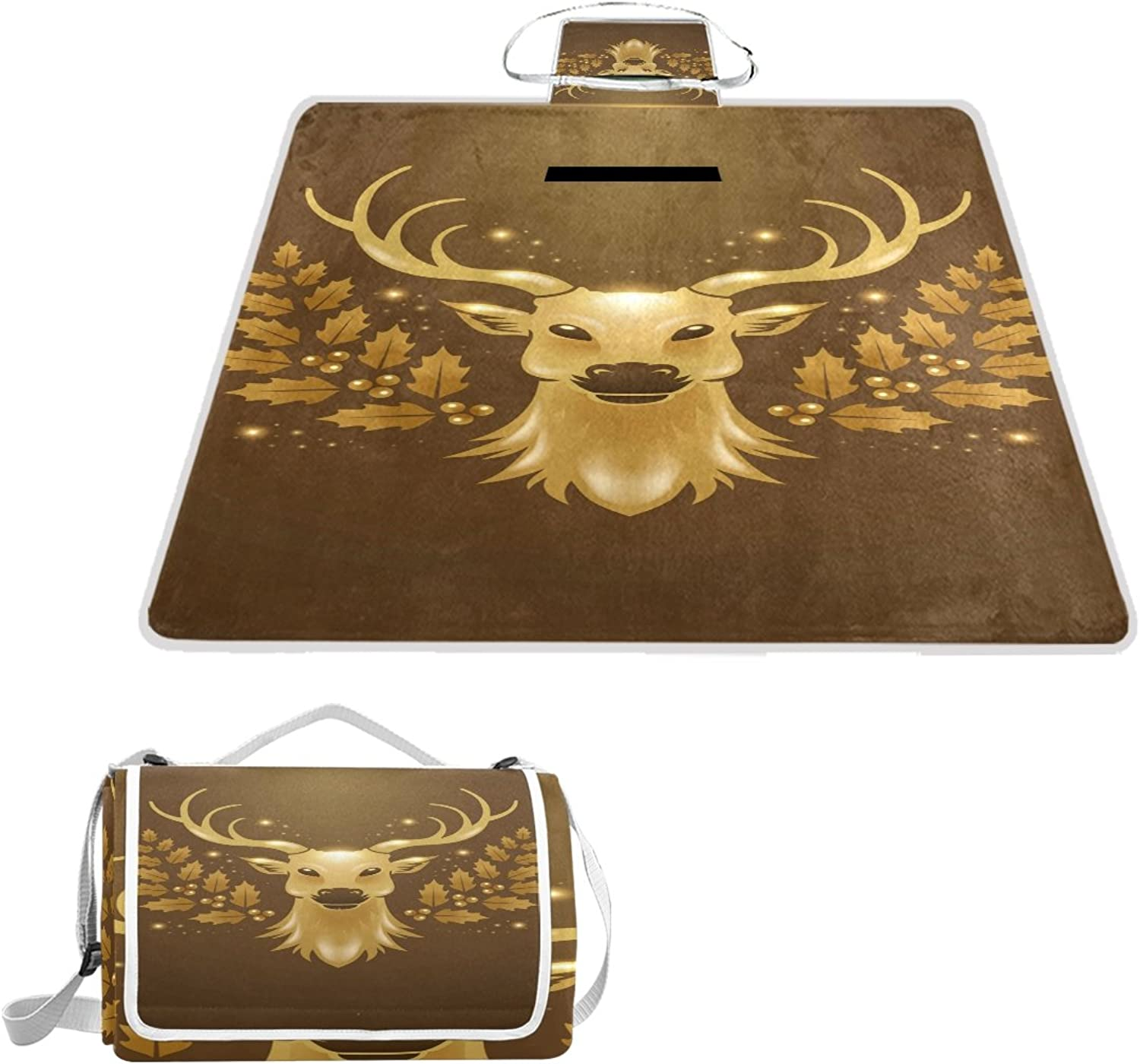 LiKai Picnic Blanket Brown Sheep Foldable Portable Waterproof Outdoor Travelling Camping Beach Mat