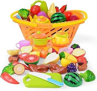 NextX Corte de Frutas y Alimentos Falsos –Juguete Educativo para la Primera Infancia - Accesorios de Cocina – Regalo de Navidad perfecto para Niños de 3 o más años (20 piezas)