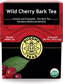 Organic Wild Cherry Bark Tea - Kosher, Caffeine-Free, GMO-Free - 18 Bleach-Free Tea Bags