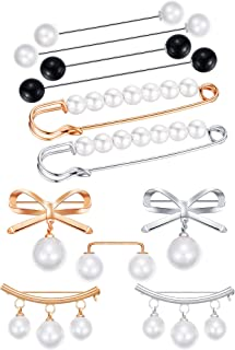 11 Pieces Sweater Shawl Clips Faux Pearl Brooch Pins Vintage Shirt Clips for Women