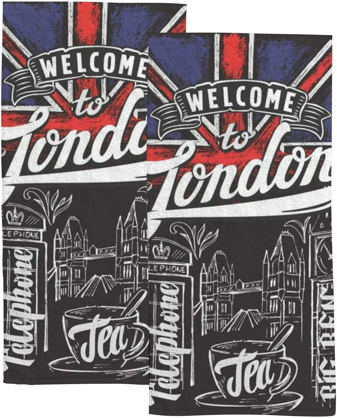 Special price for a limited time Vintage Flags Elements London Hand Towels 2 Set for Bathroom Mail order cheap Kit