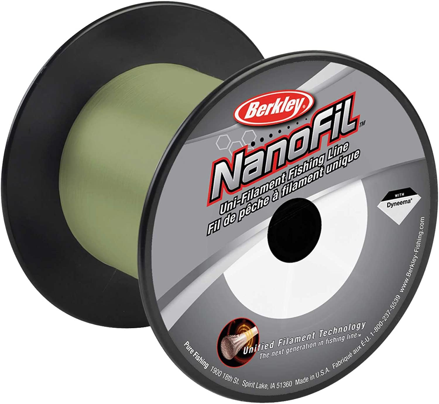 Berkley Nanofil UniFilament .007Inch Diameter Fishing Line, Low Vis Green