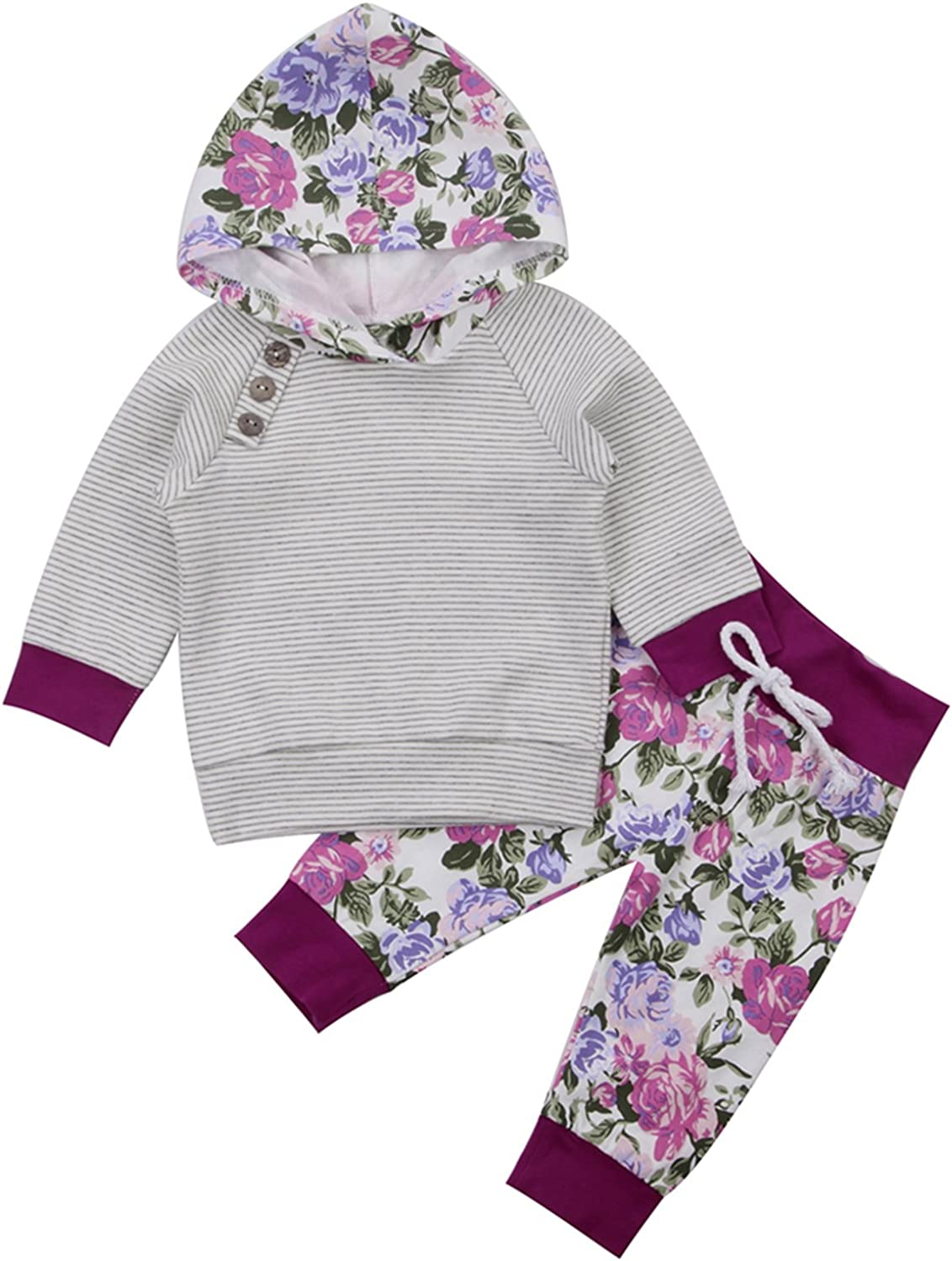 Newborn Baby Boy Girl Floral Long Sleeve Hoodie Tops Pants Clothes Outfits Set Autumn Winter