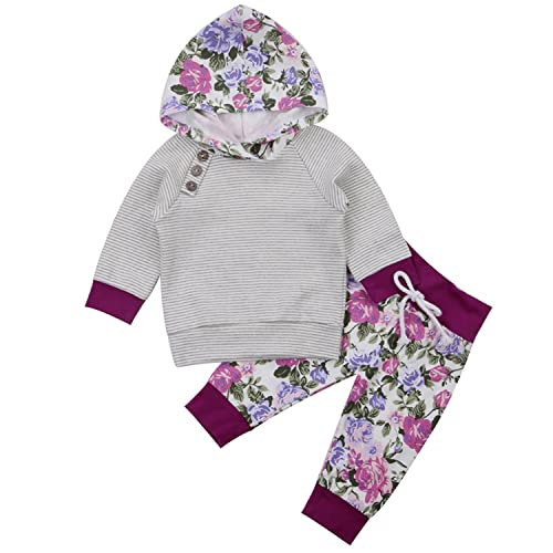 7d44b7ec45 Newborn Baby Boy Girl Floral Long Sleeve Hoodie Tops Pants Clothes Set  Outfits