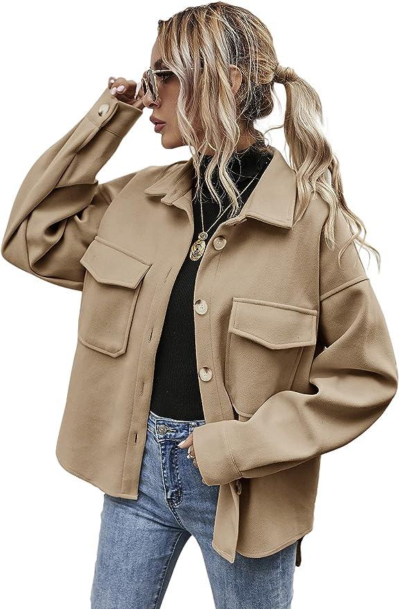 MakeMeChic Women's Wool Blend Button Down Long Sleeve Oversized Shacket Jacket Coat