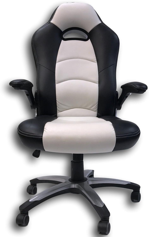 ViscoLogicSeries Lancer Gaming Racing Car Style High Back Height Adjustable Swivel & Rock Mechanism, Adjustable Armrests, Executive PU Leather Home Office Computer Desk Chair (Black & White)