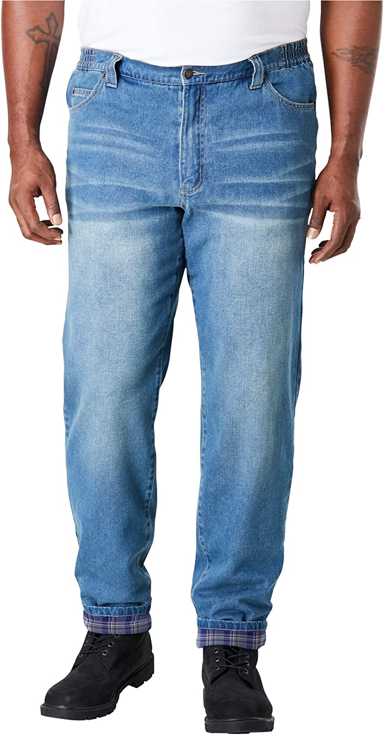 Liberty Blues Men's Big & Tall Flannel-Lined Side-Elastic Jeans