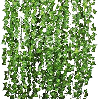 12 Strands Artificial Ivy Leaf Plants Vine Hanging Garland Fake Foliage Flowers Home Kitchen Garden Office Wedding Wall De...