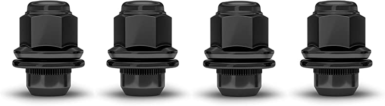 White Knight 5306BK-4 Black M12x1.25 Nissan OEM Factory Style Mag Lug Nut with Washer, 4 Pack