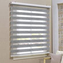 Keego Window Blinds Custom Cut to Size, Blackout Grey Zebra Blinds with Dual Layer Roller Shades, [Size W 53 x H 68] Dual Layer Sheer or Privacy Light Control for Day and Night, 12 to 94 Wide
