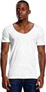 Deep V Neck T Shirt for Men Low Cut Scoop Tee Invisible Tshirt Vee Top