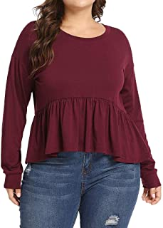 DADKA Womens Shirts Fashion Casual O-Neck Solid Long Sleeve Plus Size Tops Loose T-Shirt Blouse