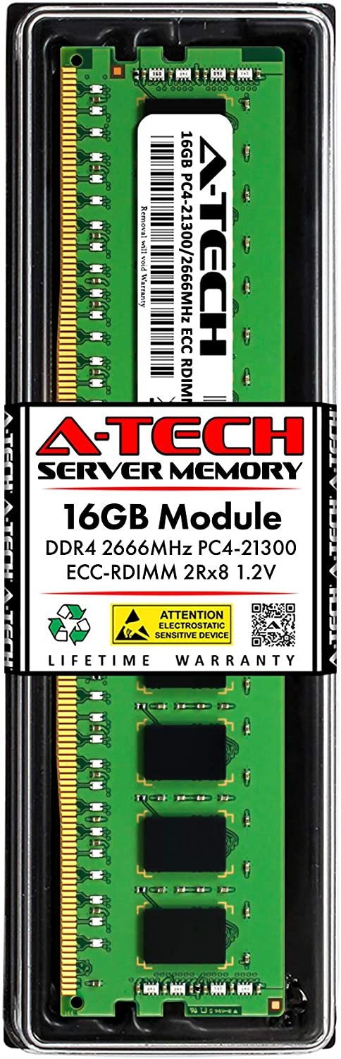 A-Tech 16GB Memory RAM for Dell Precision Workstation 5820 Tower - DDR4 2666MHz PC4-21300 ECC Registered RDIMM 2Rx8 1.2V - Single Server Upgrade Module (Replacement for AA940922)