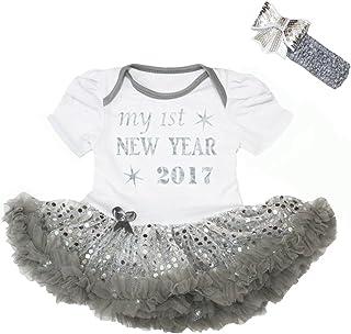 Petitebella Baby Girls' My 1St New Year 2017 White Bodysuit Sequins Tutu Set