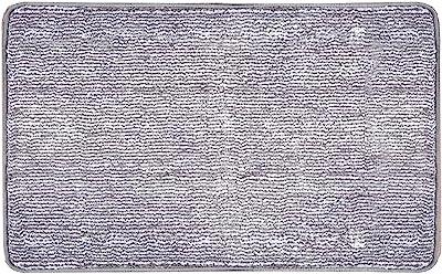 """Indoor Doormat Super Absorbs Mud Absorbent Rubber Backing Non Slip Door Mat for Front Door Inside Floor Dirt Trapper Mats Cotton Entrance Rug, 20""""x 31.5"""" Shoes Scraper Machine Washable Carpet (Grey)"""