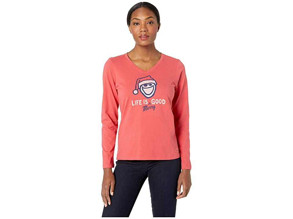 2723b3ed87c Life is Good Life is Merry Good Crusher Long Sleeve Vee (Americana Red)  Women s T Shirt