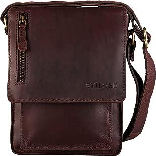 Finn' Bolso Mensajero Mediano de Piel Vintage para Mujeres y Hombres Bolsa de Hombro o Bandolera Mariconera Tablet de 8.4' auténtico Cuero, Color:ébano - marrón