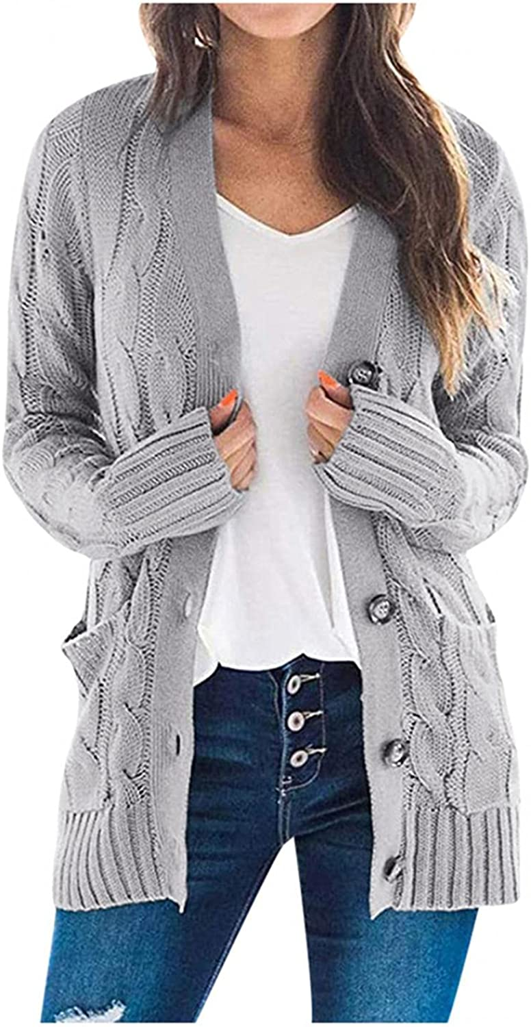 AODONG Cardigan for Women's Fashion Long Sleeve Cable Knit Sweater Open Front Cardigan Button Loose Outerwear