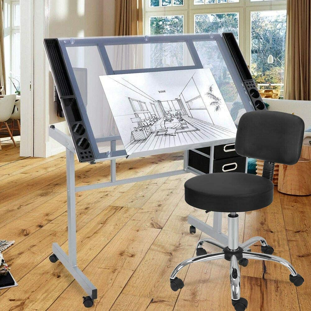 9TRADING Ranking TOP20 Adjustable Hydraulic Salon Stool Desk Limited price Drawing Chair + D