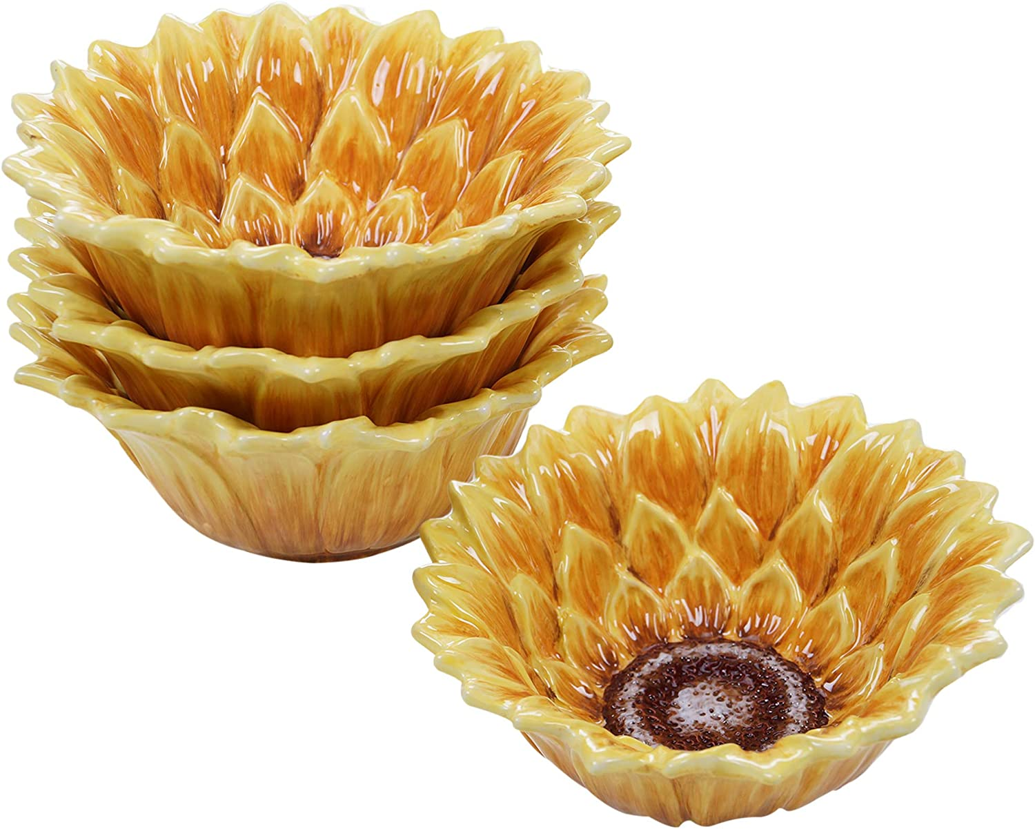 Certified International Sunset Sunflower 6.5  3-D Ice Cream Bowl, Set of 4,One Size, Multicolord